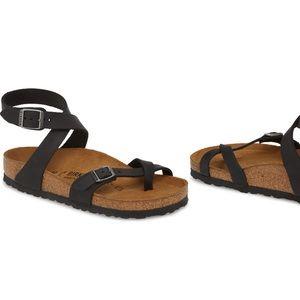 Black Birkenstock's Yara ankle strap